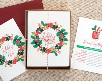 Festive Recipe Holiday Cards : Cranberry Mint Julep Pack of 8
