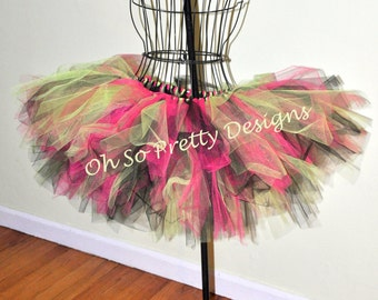 Baby, Kids, Adult, Plus Hot Pink, Black & Lime Green Totally 80's Tutu