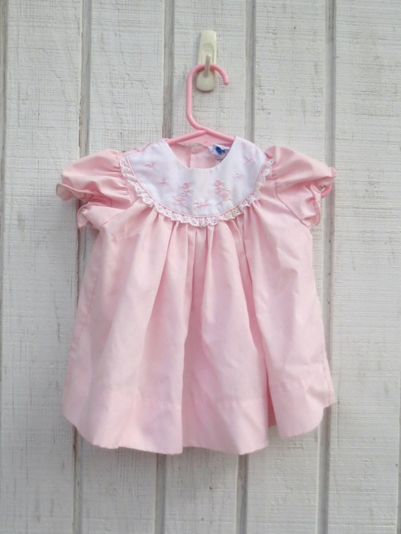 VIntage Baby Dress Pink Bird Baby Dress Infant Clothes Vintage Baby Clothes Dress 6 Months