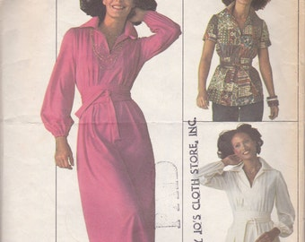 1970s Dress or Top Pattern Simplicity 7617 Size 14