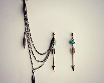 turquoise ear cuff arrow earrings, chains ear cuff, feather ear cuff, arrowhead earrings, tribal earrings