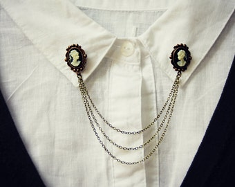 cameo collar pins, collar chain, collar brooch, lapel pin, cameo pin, cameo brooch