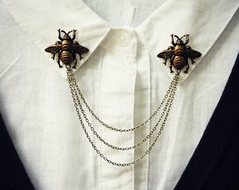 brass bee collar pins, collar chain, collar brooch, lapel pin, bee pin, bee brooch