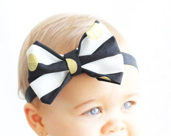 Baby Black & White Gold Dot Headband, Gold Baby Headband, Stripe Bow Headband, Trendy Baby Headband, Blush By Taylor, Modern Baby Accessory