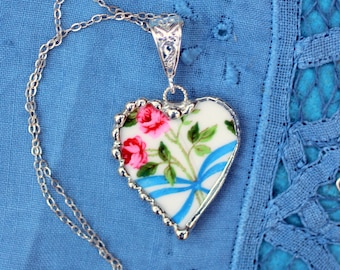 Necklace, Broken China Jewelry, Broken China Necklace, Heart Pendant, Pink Rose with Blue Ribbon China, Sterling Silver, Soldered Jewelry