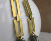 brass rectangluar chain and PYRITE crystal earrings