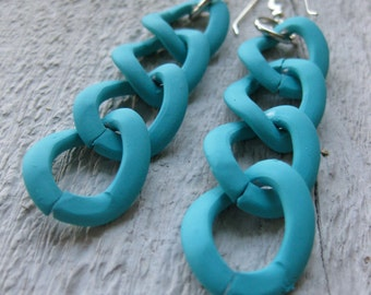 simple matte TURQUOISE blue rubber coated bold chain earrings