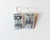 Journey Jewelry // Don't Stop Believing Earrings // Rock N Roll Music Jewelry // Statement Earrings // Concert Jewelry // Lyrical Earrings