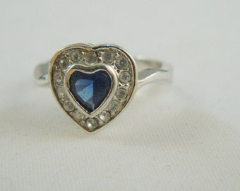 Vintage Heart Ring / Silver and Blue Rhinestone Ring / Sapphire Blue Heart Ring Size 6.5