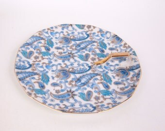 Vintage Lefton China Blue Paisley Plate Gold Handle Lemon Wedge Server Hand Painted Nappy