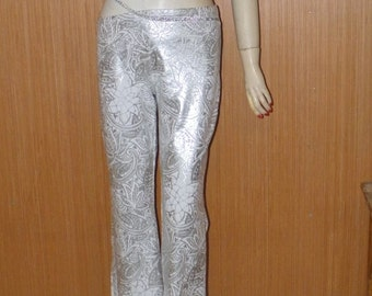 Pixie Silver n White Spandex Vintage Pants by Kitty, Hankerchief Hem