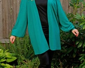 RESERVED for ANNA - Teal Wool Cardigan Sweater Oversized - 80s Vintage - One Size