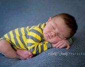 Baby Boy Cardigan - Yellow and Dark Gray Striped Cardigan Bodysuit - Spring Photo Prop -  Sizes Newborn to 24 Months