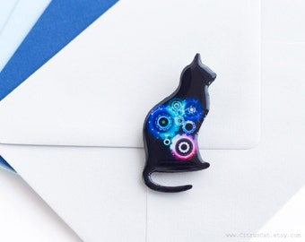 Black cat brooch with neon blue pink gears, cat jewelry, gears jewelry, neon jewelry, black brooch, geek jewelry, steampunk, techie