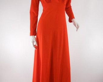 Vtg 60s Tomato Red Hostess Gown Maxi Dress - sm, med
