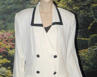 "Jacket New Double Breasted White with Black Trim Rayon Crepe by MENU Size L-XL 42"" Bust - Gorgeous!"