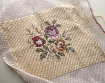 never used vintage floral needlepoint