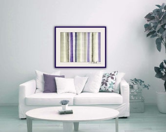 BIG SALE Large watercolor abstract painting, Title 'Violet Light',  gray, purple, indigo, modern stripe a 55 cm x 76 cm