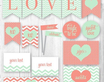 Printable Bridal Shower Package - Mint & Coral. Sweet Love Bridal Shower Decorations Package. DIY Printable Bridal Shower Shower Decor.