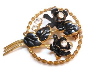 Floral circle brooch black enamel flowers with Austrian crystal rhinestones - made in Austria