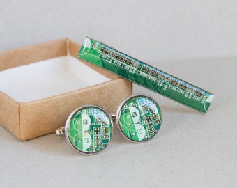 Circuit board Cuff Links and Tie Clip set