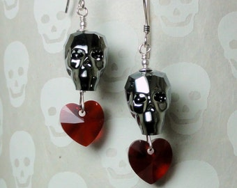 Swarovski Crystal Skull Earrings - Silver Night Crystal Skull with Crystal Heart Earrings
