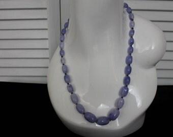 Vintage Blue Plastic Faux Stone Necklace 1970s Costume Jewelry
