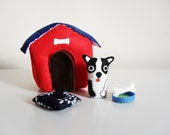 French Bulldog Mini Soft Felt Play Set. Soft Dog Play Set with Dog House, Pillow and Bone.