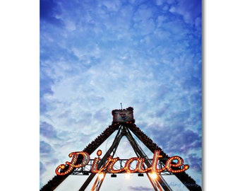 OVERSTOCK SALE, Pirate Photo, Pirates Summer Carnival Fair Ride, Red Lights Deep Blue Evening Sky & Clouds, Kids Boys Whimsical Photography