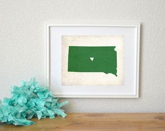 South Dakota Rustic State Map. Personalized South Dakota Map. Wedding Map. Wedding Gift. Housewarming. Anniversary Gift. Art Print 8x10.