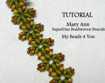 PDF Beading Pattern, Beadwork Bracelet Pattern, Beadweaving Tutorial,Pattern,Seed Bead Tutorial,PDF Superduo Tutorial, Beading Instructions