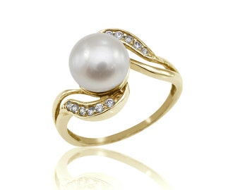 Pearl Engagement Ring, Art Nouveau Engagement Ring, Bridal Ring, Diamond Ring, Wedding Jewelry, Free Shipping