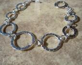 """Silver Hammered Link """"Trinity"""" Bracelet with Toggle Clasp, Everyday Jewelry, Fashion Jewelry, Karma Jewelry, Modern Bracelet"""