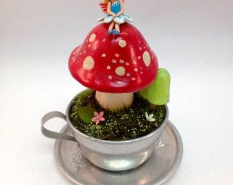 Fairy on Red Amanita Mushroom sculpture Christmas Birthday Gift terrarium decor seasonal decor home decor