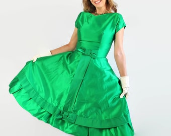 50s 60s Dress Emerald Green Party Dress Satin Vintage Wedding