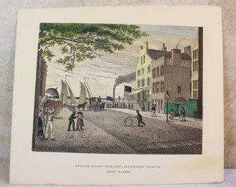Vintage Lithograph Print- Colored Lithograph of Steam Boat Wharf, Battery Place, New York- Unframed