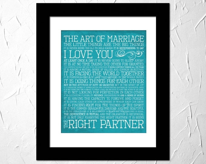 The Art of Marriage, Wedding Vows, Inspirational Quote printed. Subway Art. Unframed.
