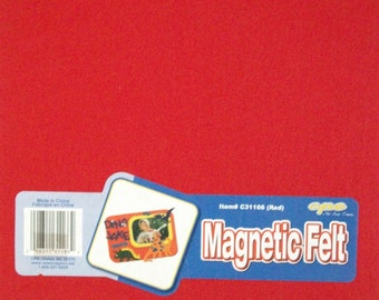"Magnetic Felt Sheet~1 Sheet~9"" by 12""~Red~Make Your Own Magnets~DIY Crafts~Gifts~Locker Accessories~Heavyweight Magnetic~Felt~Craft Supplies"