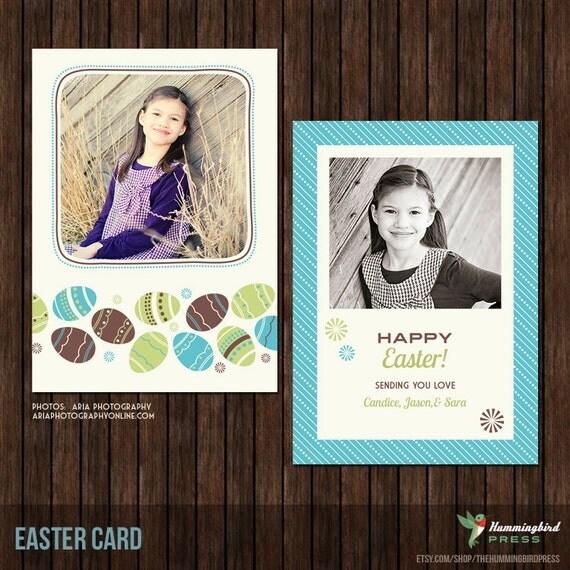 5x7 PSD Easter Card - Spring Card - Template - EA8