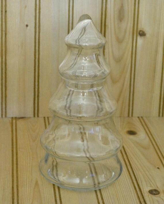Vintage glass christmas tree jar by grannysbackporchvint for Christmas glass jars