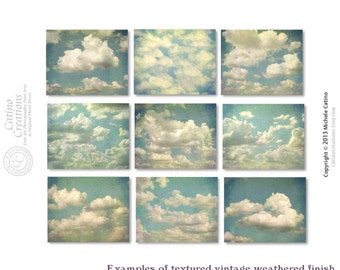 Cloud Photo Set, Vintage Cloudy Sky Photos, Fluffy Cloud set of NINE Prints, Blue Sky White Clouds, Nursery Prints, Head in the Clouds Decor