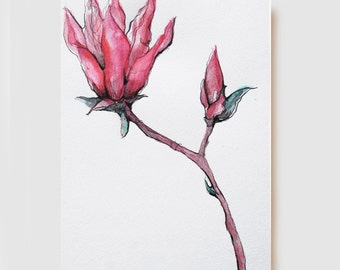 FLOWERS - Magnolia - Originals Drawings - Ink, charcoal, pencil and acrylic on acid free paper  Sennelier by Cristina Ripper