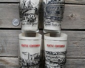 Kitsch Seattle Centennial - Four Vintage Drinking Glasses - 1951 Washington State History Memorabilia