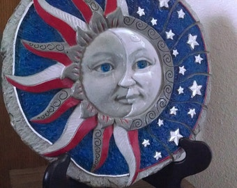 Eclipse - Cement Plaque - Indoor Outdoor Decoration - Free Shipping