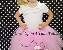 Ready To Ship - Pink Poodle Skirt Tutu - Baby Newborn 3 6 9 12 Months Child Girls 3 4 5 6 8 10 12 Adult - 50's Sock Hop Halloween Costume