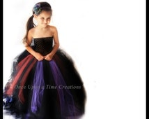 Ready To Ship - Scary Witch Tutu Dress Long Halloween Costume Little Girls Size 6 12 18 Months 12M 2T 3T 4T 5T 6 7 8 10 12  Black Purple Red