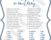 Celebrity Baby Matching Baby Shower Game INSTANT DOWNLOAD (NAVYBLUE)
