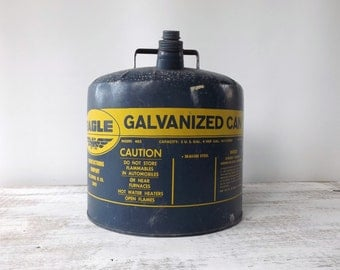 Vintage Blue Eagle Galvanized Gas Can / Blue Eagle Can / Man Cave Item / 5 Gallon Gas Can / Gas Can / Steel Can / Blue Can