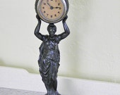 Antique Art Nouveau Smelter Lady Mantle Clock