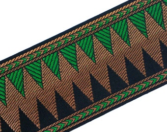 Emerald Green / Black and Gold Brocade Border - Gold Trim / Lace / Ribbon -  Brocade Silk Border by Yard